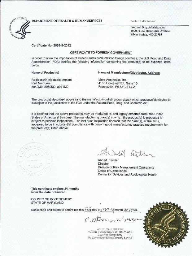 CFG - giấy chứng nhận chất lượng của Radiesse
