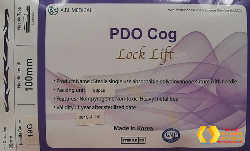 Chỉ Collagen Lock Lift PDO Cog 19gx100mm