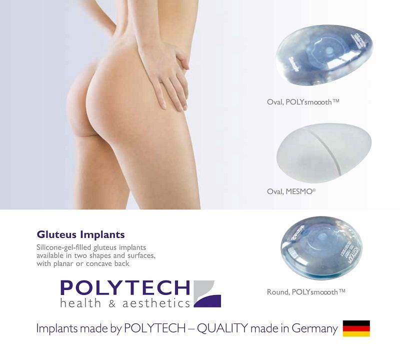 3 kiểu dáng, kiểu bề mặt Mô cấy mông nhân tạo-Polytech Gluteal Implant