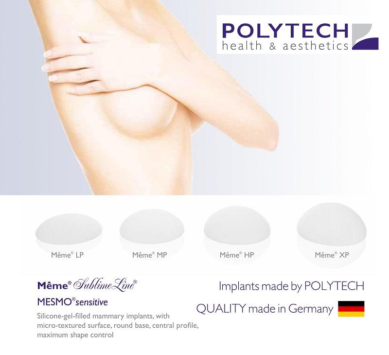 Túi ngực Polytech hình tròn, đáy tròn, bề mặt nhám mịn (Mesmo, Nano)