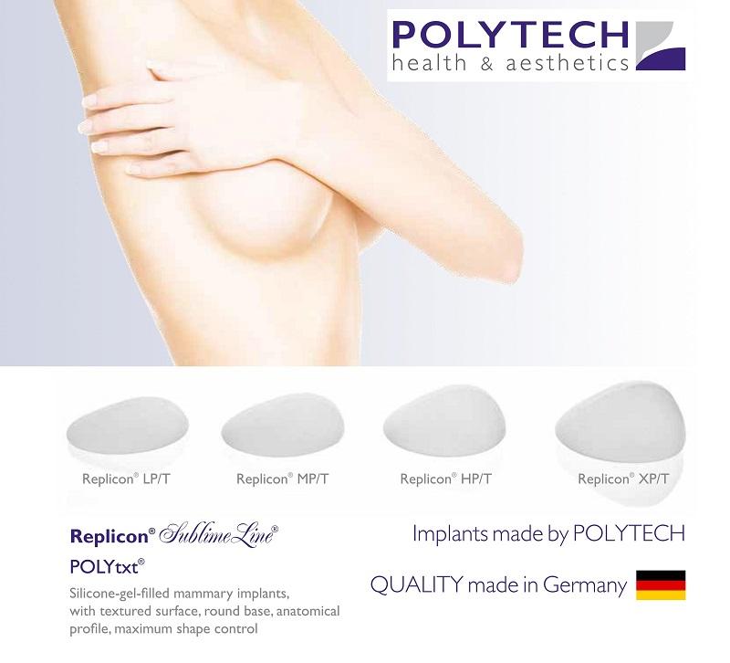 Túi ngực Polytech hình giọt nước, đáy tròn, bề mặt nhám hoặc nhám mịn (Mesmo, Nano)