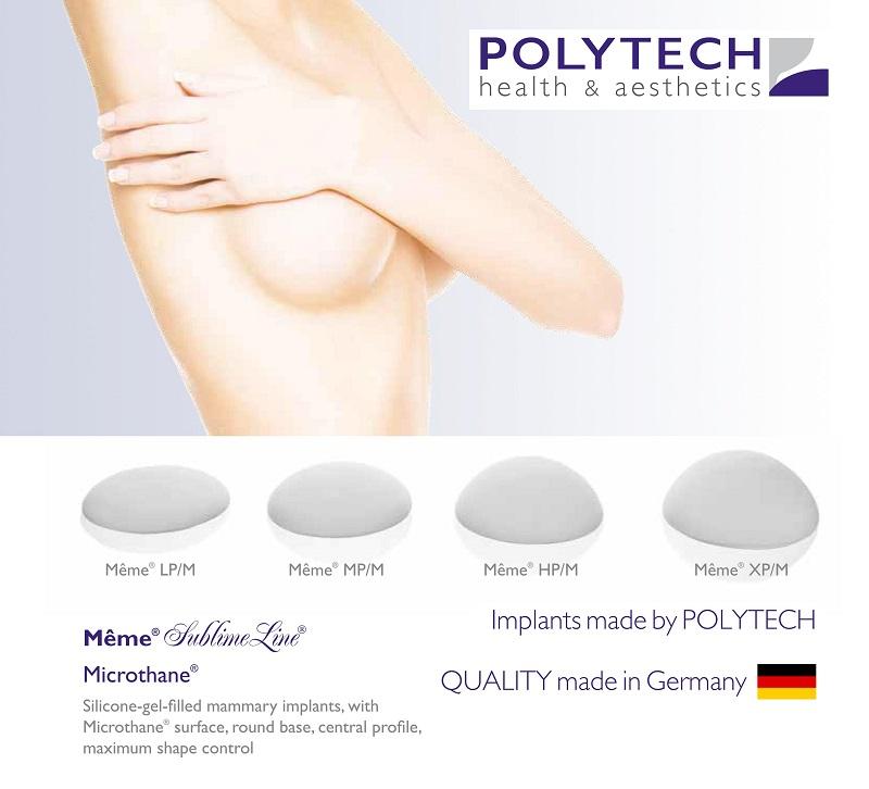 Túi ngực Polytech hình tròn, đáy tròn, bề mặt xốp Microthane
