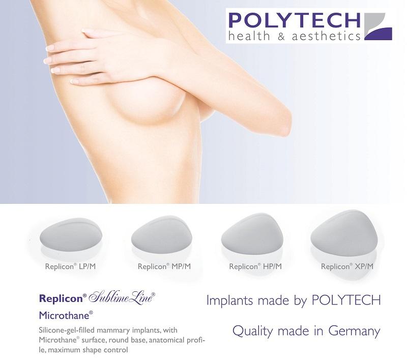 Túi ngực Polytech hình giọt nước, đáy tròn, bề mặt xốp Microthane
